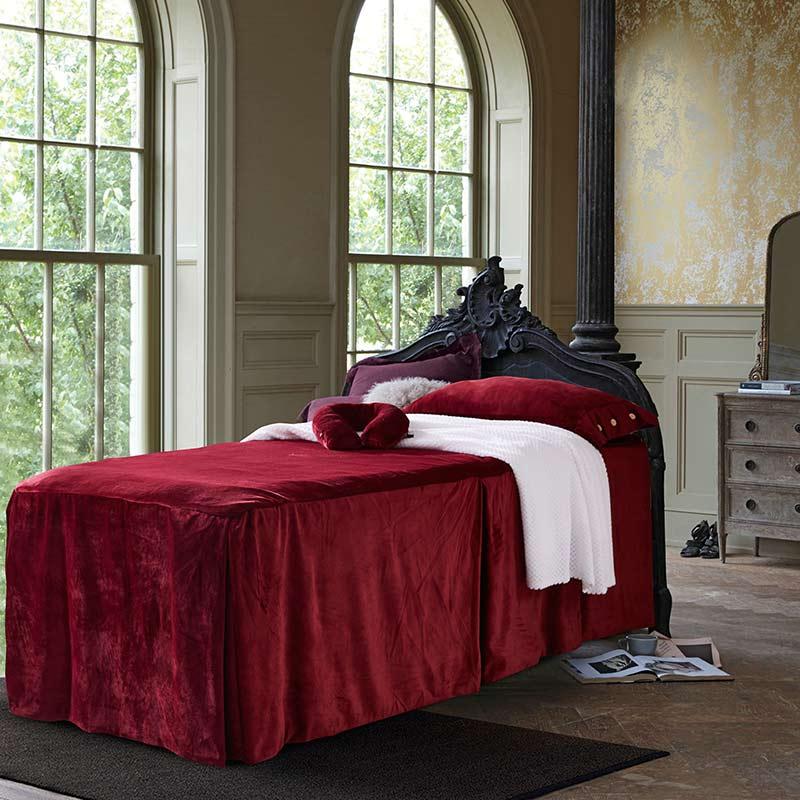 Couverture de lit de beauté Pure quatre ensembles de mode Simple atmosphère Style vin rouge doux respirant couverture couverture de couette de couleur unie