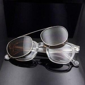Image 2 - גבוהה באיכות קריסטל ברור מסגרת משקפיים גברים עגול שקוף אצטט משקפי שמש מקוטב קליפ על שמש משקפיים ג וני דפ