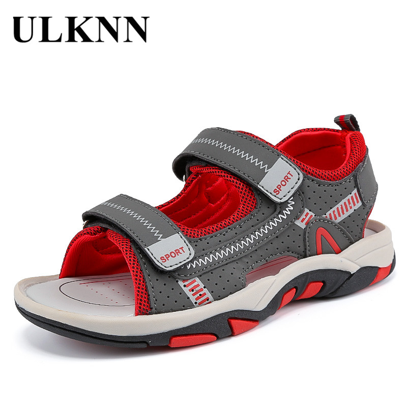 ULKNN BOY'S Cool Shoes 2020 New Style Big Boy Korean-style Summer Beach Children Anti-slip Students Soft-Sole Boy Shoes FOR KIDS