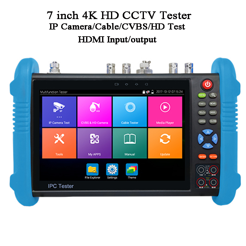 7 Inch CVI TVI AHD 3G-SDI Test Video Playback ONVIF POE Wifi RJ45 TDR Cable Test Tracer Digital Multimeter Battery CCTV Tester