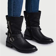 Retro Leather Martin Boot Women's Mid Tube Boots Winter Buckle Strap Casual Boot Lady Classic Low Heel Knight Shoes Wide Calf