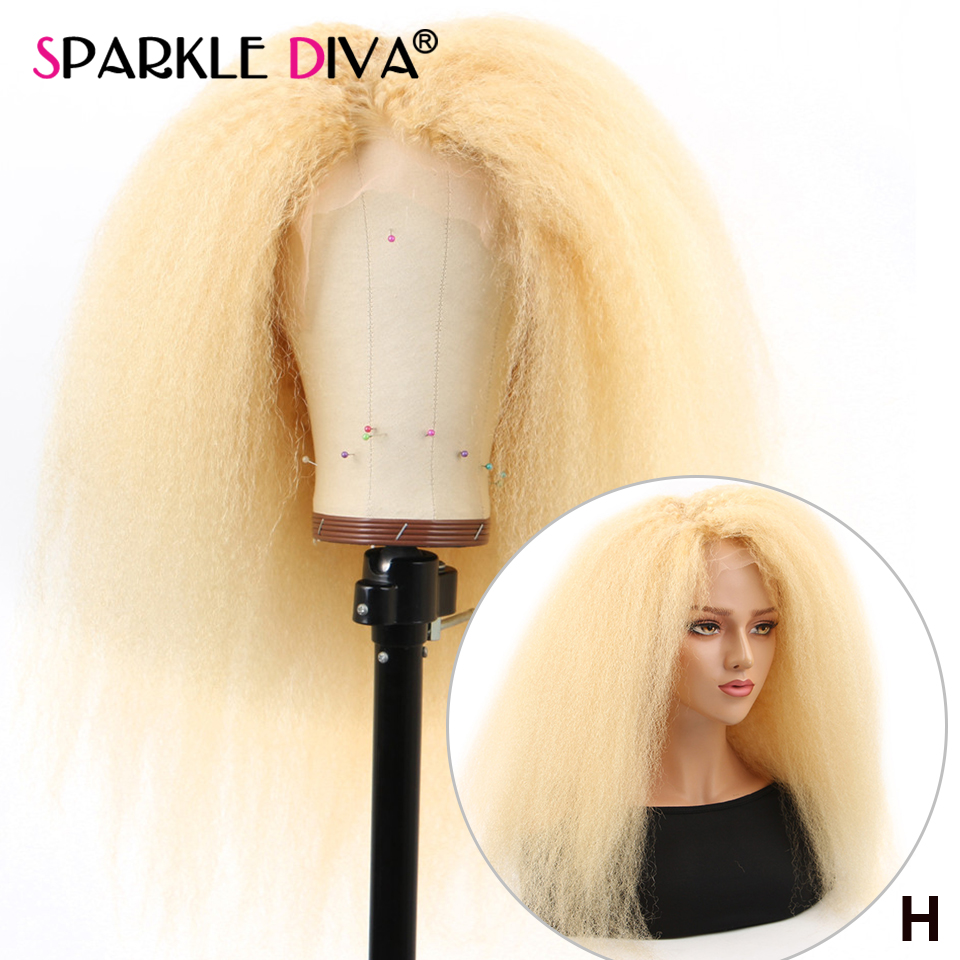 #613 Blonde Glueless Lace Front Human Hair Wigs Brazilian 13x4 Kinky Straight Wig Remy Honey Blonde Human Hair Wigs Pre Plucked