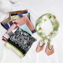 2020NEW Fashionable clean printed foulard square Imitation silk scarf for women small shawl hair kerchief 70X70cm