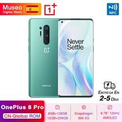 Глобальная прошивка Oneplus 8 Pro 5G Смартфон Snapdragon 865 6,78 ''120 Гц жидкости Дисплей 48MP Quad камеры IP68 30 Вт Беспроводной зарядки