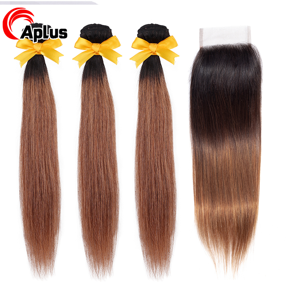 Buy 3 Bundles Get One Free Closure Aplus Ombre Bundles With Closure T1b 30 Non Remy Malaysian Straight Hair Bundles With Closure