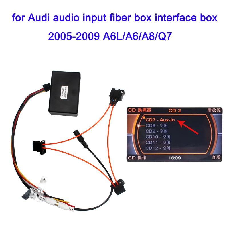 Audio input decoder For Audi 2005-2009 a6 a6l a8 q7  AUX automotive 2G system external audio input optical fiber decoder