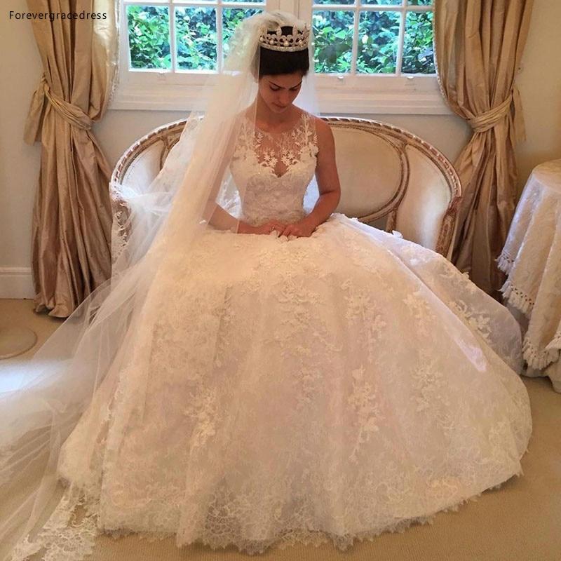 Vintage Lace Scoop Princess Wedding Dress Elegant A-line Long Bridal Gown Plus Size Custom Made