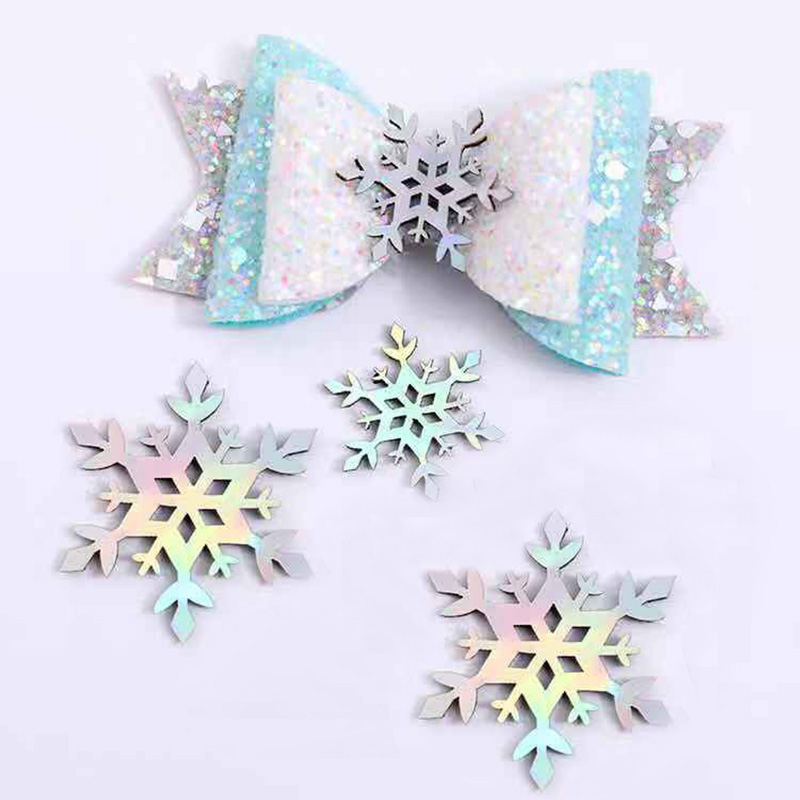 10pcs Christmas Colorful Laser Snowflakes Applique DIY Hair Accessories Craft Supplies Hair Bows Ornaments Handmade   Headwear