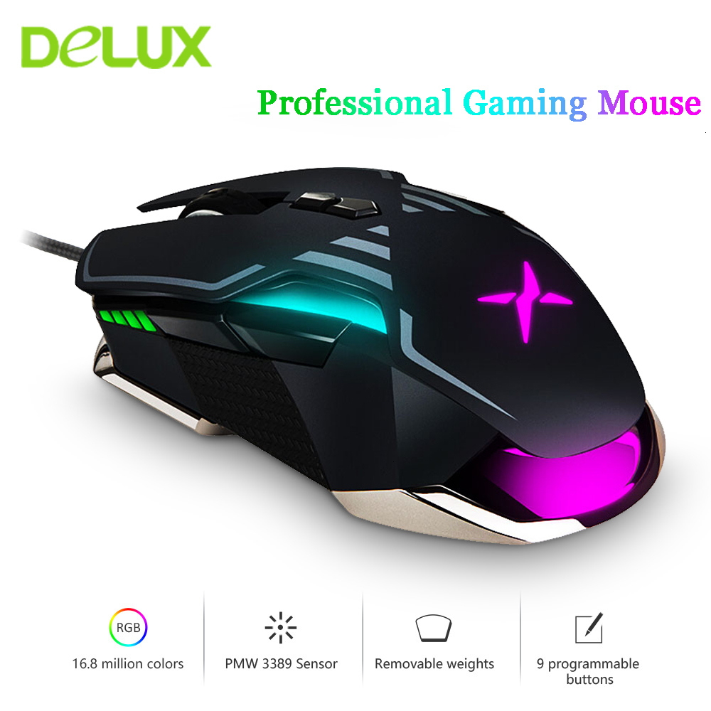 Delux M628 PMW3389 Sensor <font><b>16000</b></font> <font><b>DPI</b></font> <font><b>Gaming</b></font> <font><b>Mouse</b></font> 9 Buttons 50G ACC RGB Wired Optical Both Hands <font><b>Mice</b></font> with Weight set For Gamer image