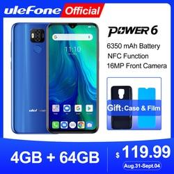 Смартфон Ulefone Power 6, Android 9.0, Helio P35 восемь ядер, 6350 мАч, 6,3-дюймовый экран, 4 ГБ+64 ГБ, 16 Мп, распознавание лица, NFC, 4G LTE мобильный телефон, глобальная ...