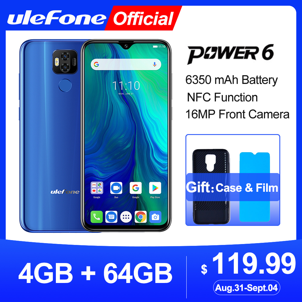"Ulefone power 6 Smartphone Android 9.0 Helio P35 Octa-core 6350mah 6.3"" 4GB 64 GB 16MP face ID NFC 4G LTE Global Mobile Phones(China)"