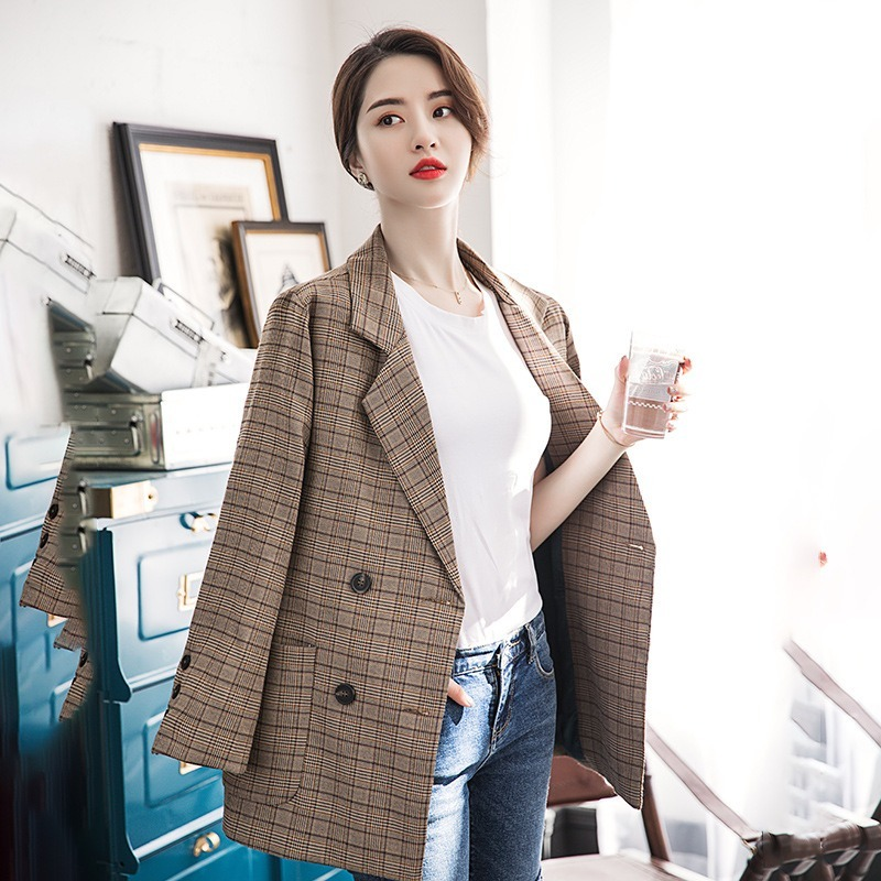 Plaid Suit Jacket Women Spring and Autumn New Mature Elegant British Style Retro Comfortable Casual Loose Small Suit Fall Jacket