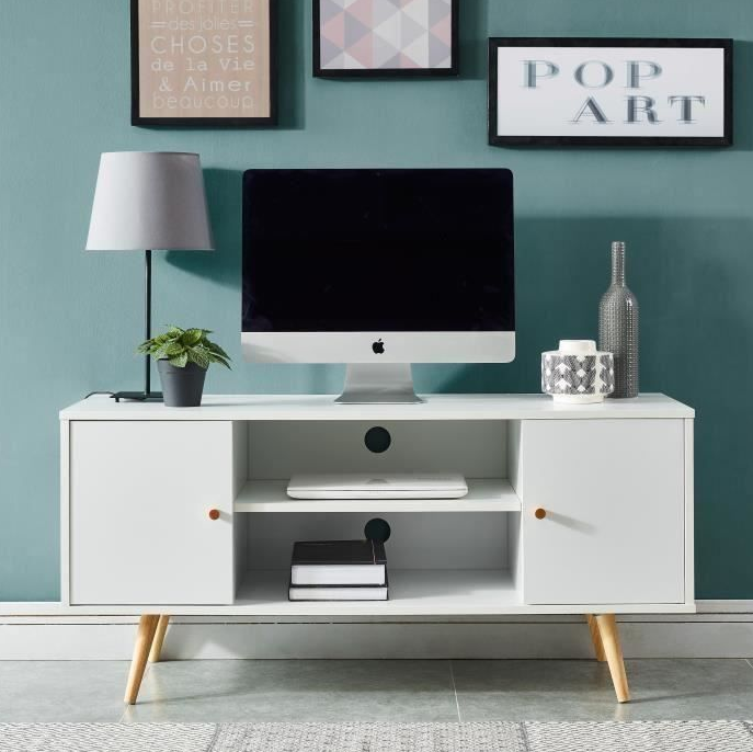 Hot Giantex Modern TV Stand Entertainment Center Console Cabinet Stand 2 Doors Shelves White Wood Living Room Furniture HWC