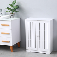 Double Door Three Layer 80cm High Storage Cabinet PVC (63x31x80)cm For The Living Room Decoration