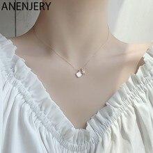 ANENJERY argento Sterling 925 Danity zircone stella marina conchiglia collana clavicola catena girocollo per le donne regalo dei monili del partito S-N671