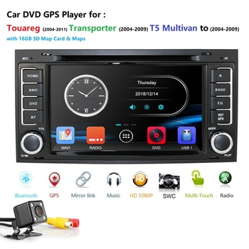 2 din 7 inch Car DVD For VW Touareg Multivan T5 (2004-2009) GPS Bluetooth Radio RDS USB Steering wheel Canbus Free 8G MAP Card