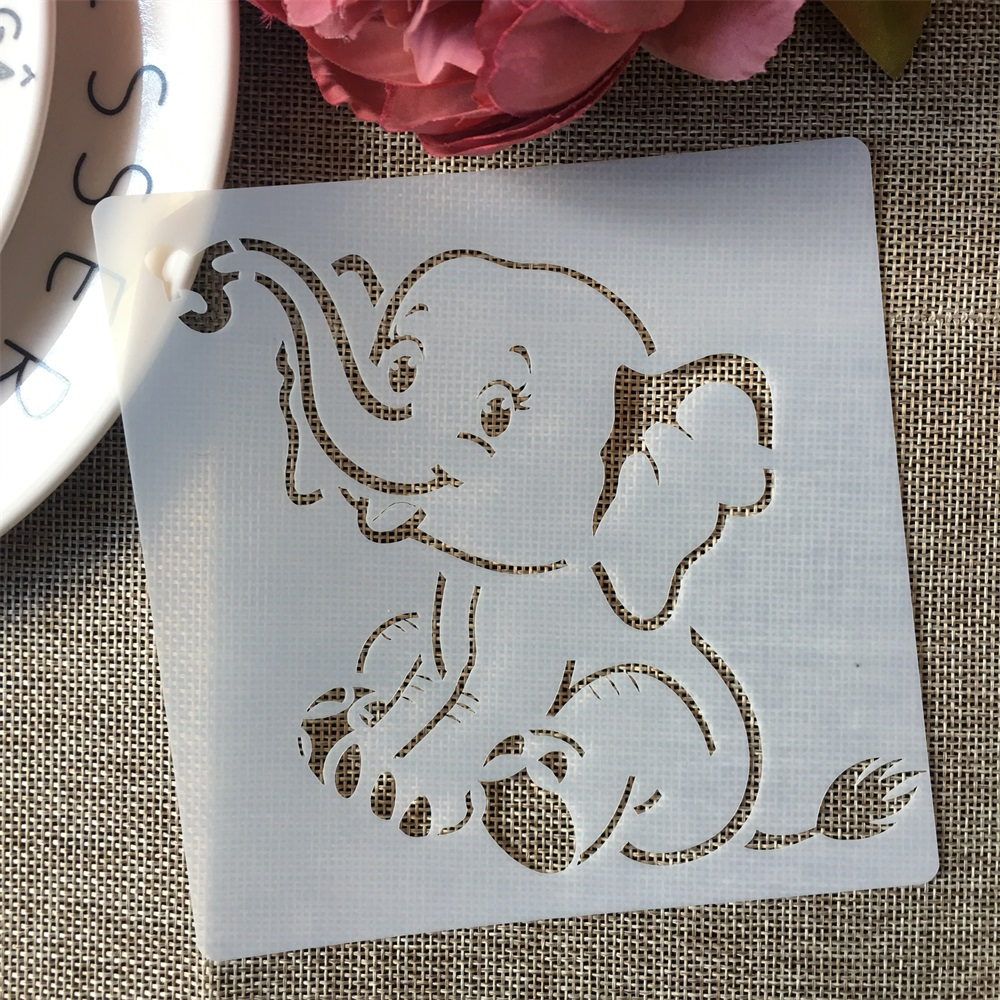 13*13cm Zoo Animals Elephant Raccoon DIY Layering Stencils Painting Scrapbook Coloring Embossing Album Decorative Template