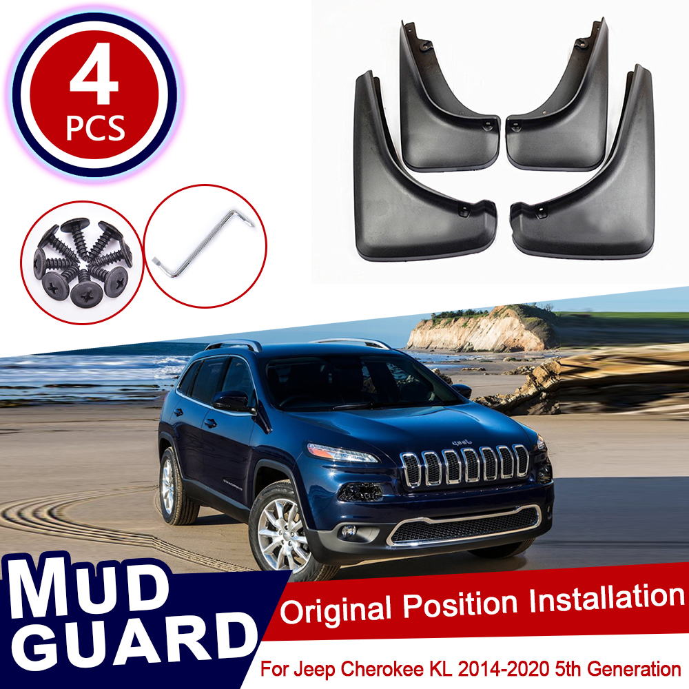 For Jeep Cherokee KL 2014~2020 Car Mud Flaps Front Rear Mudguard Splash Guards Fender Mudflaps Flap Accessories 2015 2016 5th