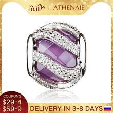 ATHENAIE 925 סטרלינג כסף טבע של זוהר סגול קסם חרוזים Fit מקורי אירופאי צמיד צמיד אותנטי DIY תכשיטים