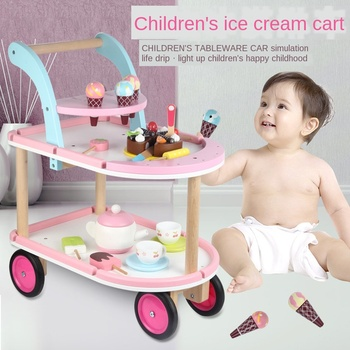 Children's Simulation Ice Cream Cart Boy and Girl Baby Pretend Play Shopping Cart Trolley Wooden Educational Toy for Kids Gifts toddler walker baby boy and girl pretend play simulation shopping cart trolley wooden early education toy for kids birthday gift