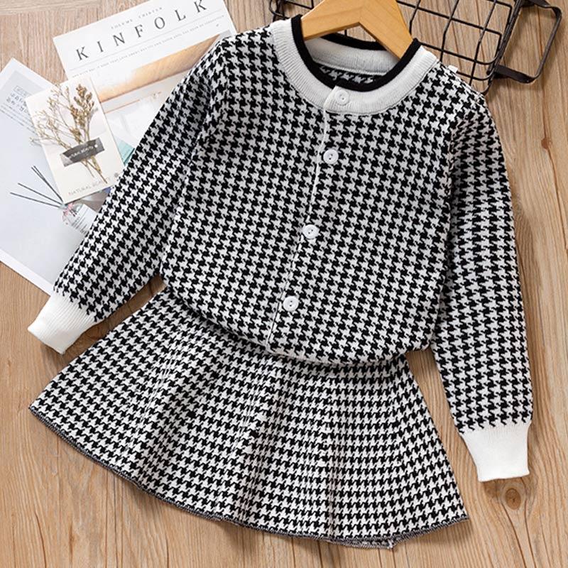 Autumn Winter Plaid print Sweater Dress Set Casual Girls Clothing Sets Girls Clothes Suit Children Clothes Kids Clothing Sets 17