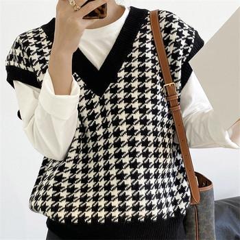 Dziewczęcy sweter z dzianiny w serek kobiety ciepłe swetry jesienno-zimowa koreański luźny sweter w stylu Vintage kamizelka sweter bez rękawów sweter tanie i dobre opinie W romby REGULAR POLIESTER spandex Akrylowe V-neck CN (pochodzenie) Zima Łączone Grube Brak Luźne Dla osób w wieku 18-35 lat