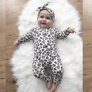 2Pcs Newborn Baby Girls Clothes Set Cotton Hearts Print Infant Long Sleeve Jumpsuit+Headband Toddler Girls Clothing