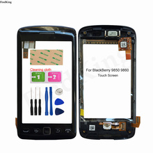 3.7inch Touch Screen With Frame For BlackBerry 9850 9860 Touch Screen + Frame Panel Digitizer Lens Sensor Tools 3M Glue