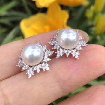 charming pair of 8.5-9mm south sea pearl earring 925silver