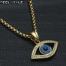 HIP Hop Stainless Steel Bling Iced Out Evil Eye Necklaces & Pendants IP Gold Filled Natural Stone Eye Necklace For Men Jewelry
