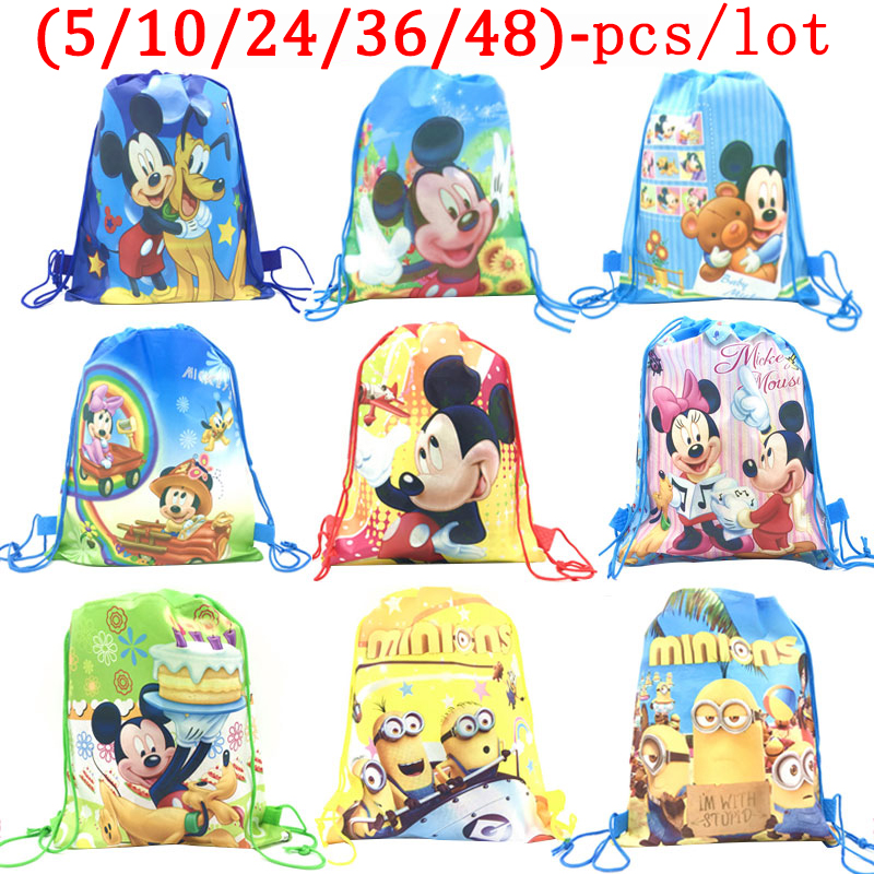 Disney Mickey Maus Thema Geburtstag Partei Liefert Geschenke Nicht-Woven Kordelzug Goodie Bags Kinder Dekoration Supplies Schule Taschen