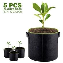 5 adet 5/7/10 galon keçe bitki büyüyen çanta sebze çiçek patates Pot konteyner bahçe dikim sepeti çiftlik ev mantar tohumu
