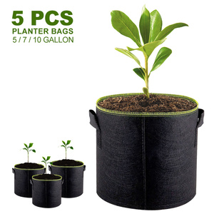 Image 1 - 5pcs 5/7/10 Gallon Felt Plant Growing Bags Vegetable Flower Potato Pot Container Garden Planting Basket Farm Home Mushroom Seed