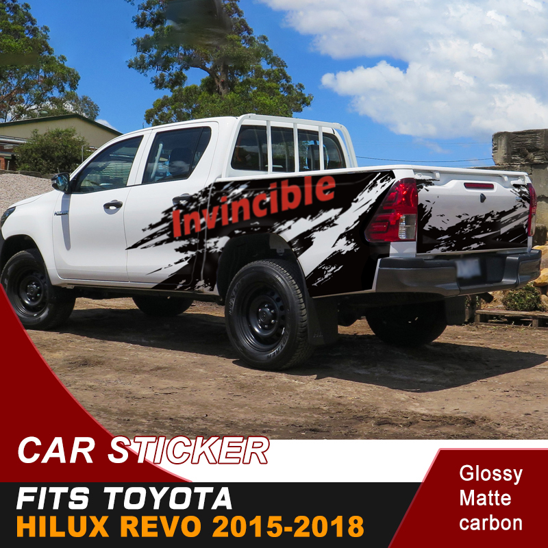 Car Decoration Fit For TOYOTA HILUX REVO 2019-2015 Mud Splash Invincible Graphic Vinyl Car Stickers Use To Side Door Rear Trunk