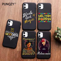 PUNQZY Afro negro chica reina de magia de la melanina Poppin funda para teléfono para iPhone 12 pro 11 PRO MAX XS MAX XR X 6 8 7 Plus SE 2 de la cubierta del TPU del