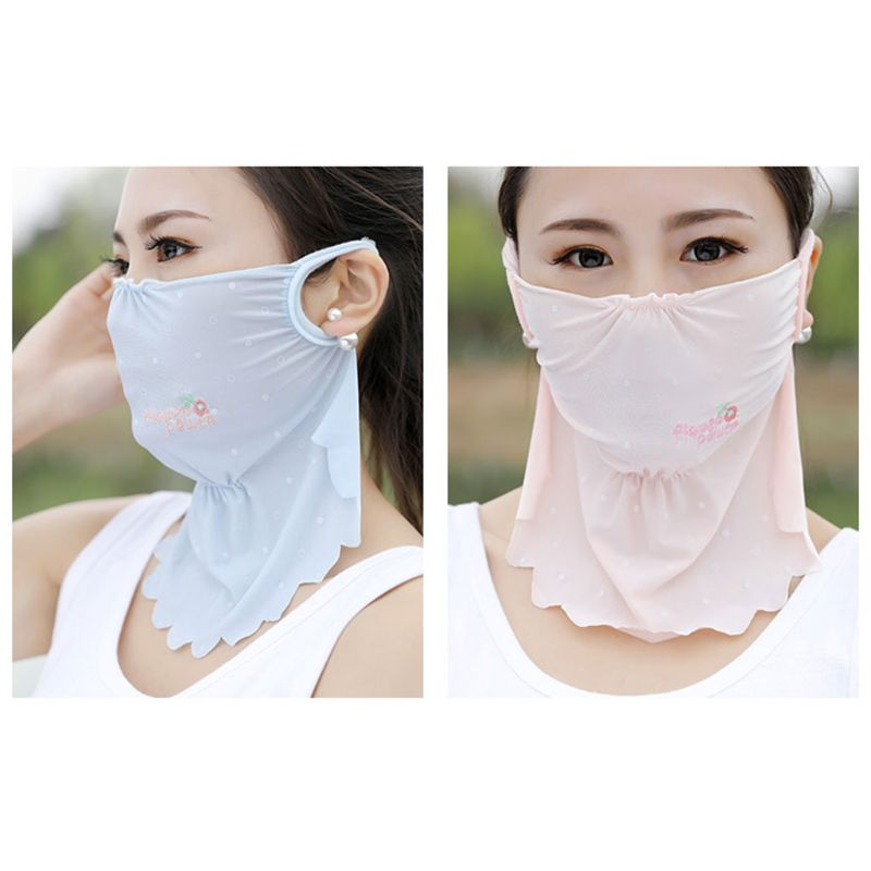 Women Girls Anti UV Sunscreen Mouth Mask Dust Cover Lengthen Floral Embroidered Earloop Candy Color Neck Wear Mouth-Muffle M17C