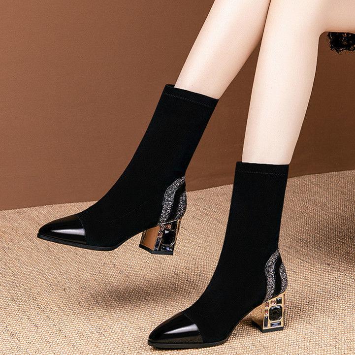 Облегающие короткие женские сапоги до середины икры из эластичной ткани стразы на квадратном каблуке женская зимняя обувь 2021 женская обувь черная