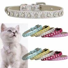 Блестящие бриллиантовые Стразы ошейник для кошки ошейник для щенка ошейник для кошки кожаный ремешок аксессуары для котенка