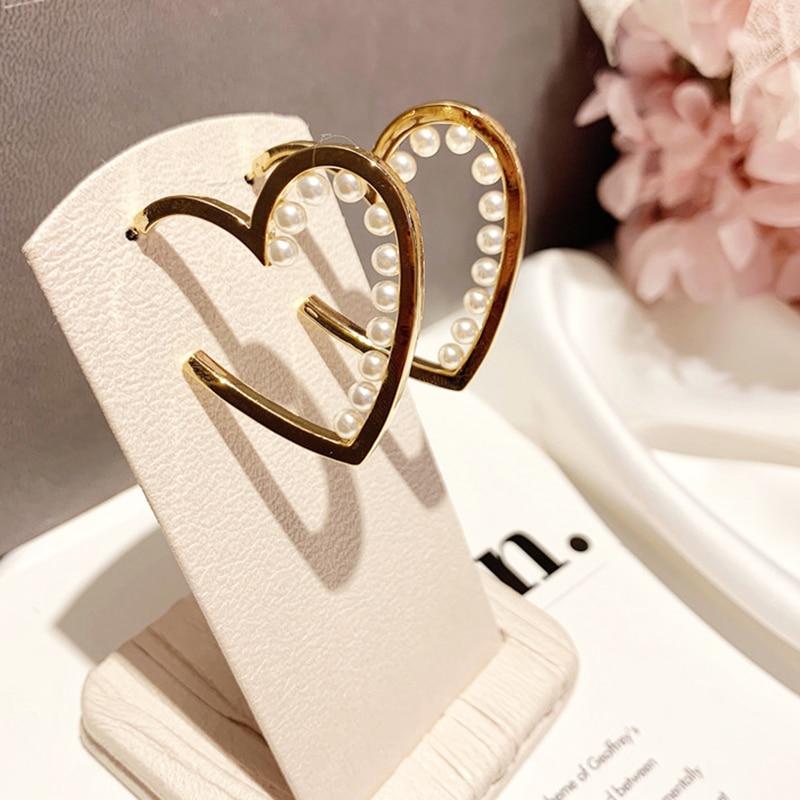AENSOA Big Simulated Pearl Heart Shape Earrings 2020 For Women Love Heart Geometric Gold Color Drop Dangle Earring Korea Jewelry
