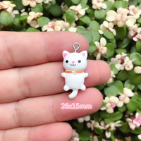 10pcs/pack Kawaii Cat Charms Pendants for Jewelry Making Animal Resin Charms Jewlery Findings DIY Craft