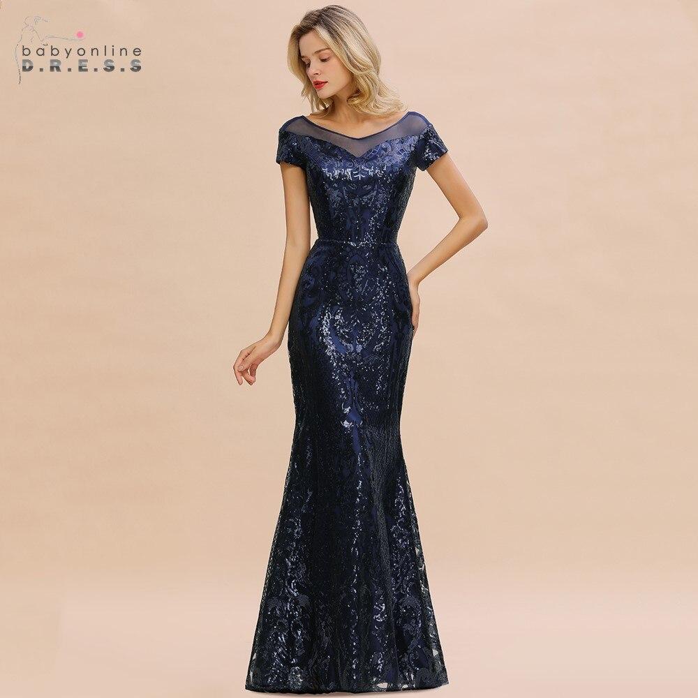 Robe De Soiree Elegant Navy Blue Sequins Mermaid Long Evening Dress 2020 Bling Short Sleeve Evening Gowns Vestido De Festa Longo