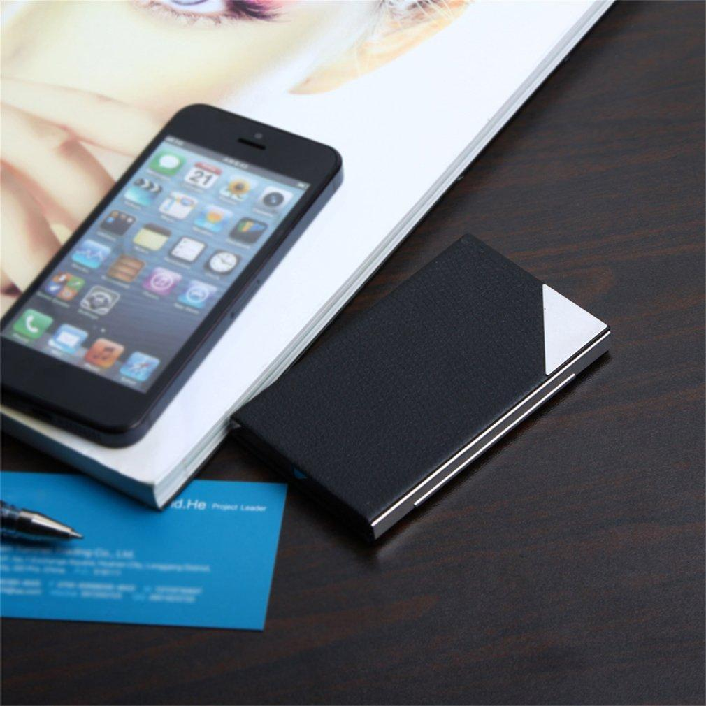 Stainless Steel Business Name Credit ID Card Case Holder PU Leather Box UL