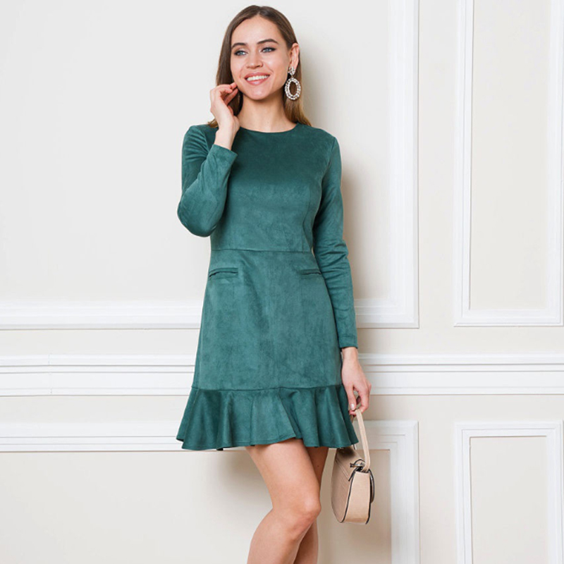 Women Vintage Ruffled Elegant A-line Party Dress Long Sleeve O Neck Solid Casual Office Lady Mini Dress 2019 Autumn New Dress