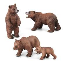 Realistic Collectible Grizzly Bear Family Animal Model Figurine Desk Decor Kids Educational Toys for Children Gift(China)