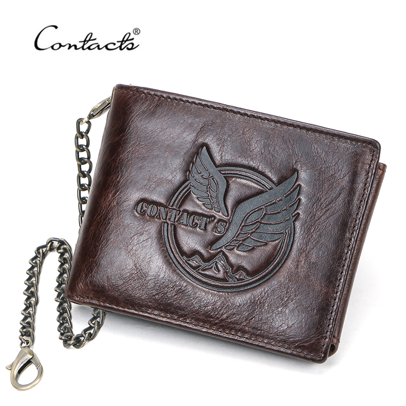 Image 2 - CONTACTS 100% Genuine Leather Men Wallet Short Coin Purse Anti  theft Chain Design ID Card Holder Pocket Male Wallets CarteiraWallets