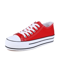 Classic Canvas Shoes Women Female Height Increasing Casual V