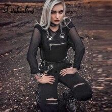 Fitshinling Punk Grunge Long Jumpsuit Womens Rompers Goth Dark Zipper Chain Pocket Buttons Black Cotton Playsuit