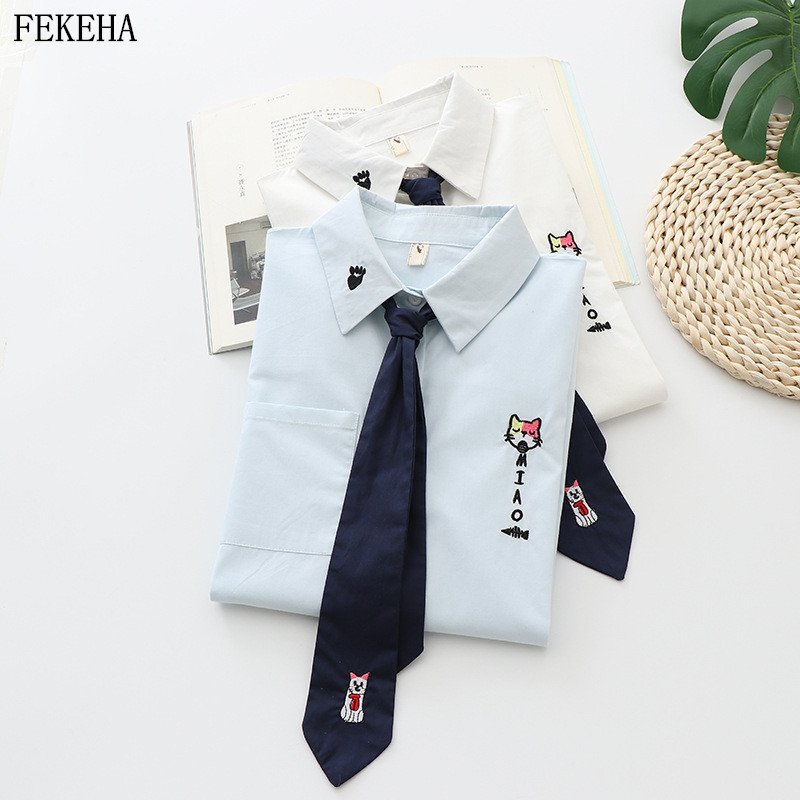 Women's Blouse 100% Cotton Embroidery White Shirts Cute Kawaii Spring School Uniform Preppy Style Girls Tops