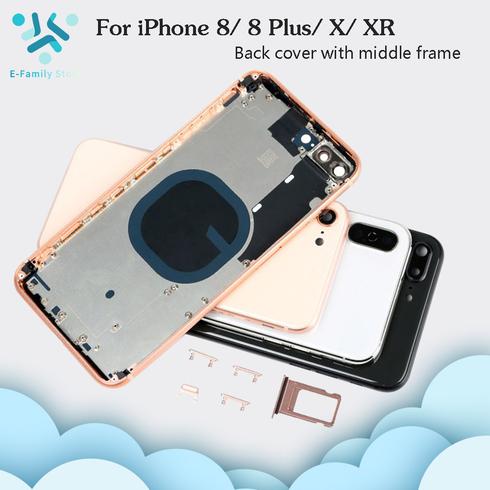 For IPhone 8 8G 8 Plus 8P Battery Back Cover Door Rear Cover + Middle Frame For IPhone X XR Housing Case With Sim Tray Side Keys