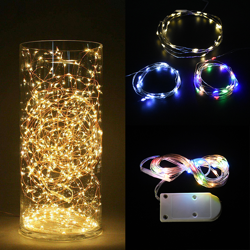 LED String Lights 1M 2M 3M Copper Wire Light Garland Wedding Party Decoration Powered By Battery White Multicolor Fairy Light